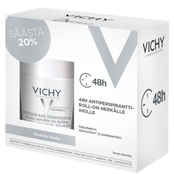 VICHY DEO 48H SOOTHING ANTIPERSPIRANT ROLL-ON SENSITIVE SKIN 2X50 ML