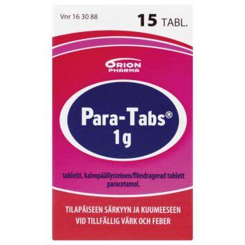 PARA-TABS 1 G KALVOPÄÄLLYSTEINEN TABLETTI 15 kpl