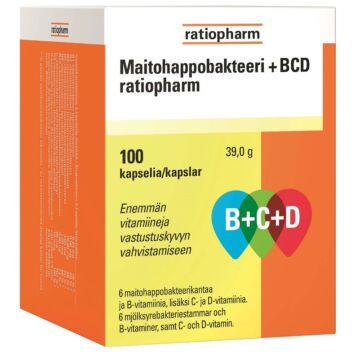 MAITOHAPPOBAKTEERI B+C+D RATIOPHARM KAPS 100 KPL