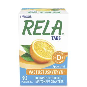 RELA TABS +D3 10MIKROG APPELSIINI PURUTABL 30 KPL