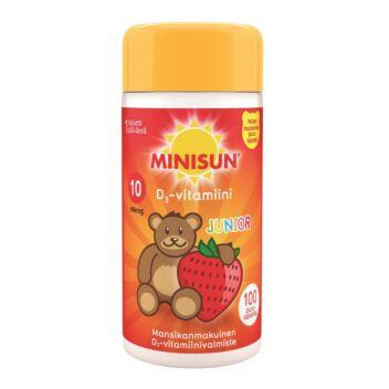 MINISUN D-VITAMIINI 10 MIKROG JUNIOR NALLE PURUTABL MANSIKKA 100 KPL