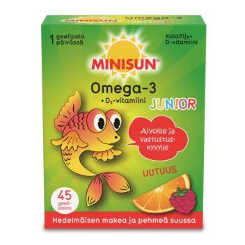 MINISUN OMEGA-3 + D3 JUNIOR GEELIPALA 45 KPL