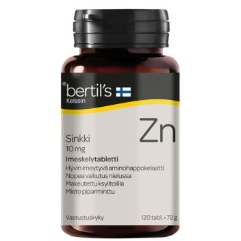 BERTIL'S KELASIN SINKKI 10 MG IMESKELTÄVÄ TABL 120 KPL