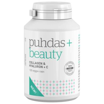 PUHDAS+ BEAUTY COLLAGEN & HYALURON + C VEGEKAPS 120 KPL