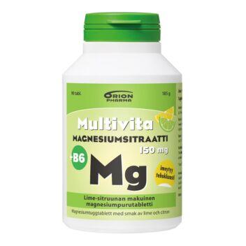 MULTIVITA MAGNESIUMSITRAATTI + B6 LIME-SITRUUNA PURUTABL 90 KPL