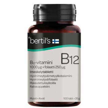 BERTIL'S VITAMIN B12-VITAMIINI+FOLAATTI IMESKELYTABL 100 KPL