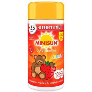 MINISUN D-VITAMIINI 10 MIKROG JUNIOR NALLE PURUTABL MANSIKKA 100+25 KPL