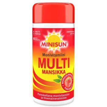 MINISUN MONIVITAMIINI MULTI MANSIKKA TABL 90 KPL