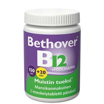 BETHOVER B12-VITAMIINI+FOOLIHAPPO TABL 150+20 KPL