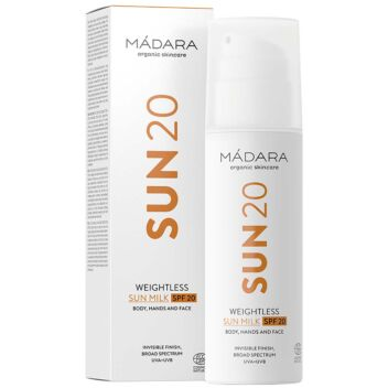 MADARA SUN WEIGHTLESS SUN MILK SPF20 BODY, HANDS AND FACE 150 ML