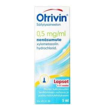 OTRIVIN SÄILYTYSAINEETON 0,5 MG/ML NENÄSUMUTE (LASTEN) 5 ml