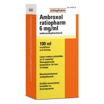 AMBROXOL RATIOPHARM 6 MG/ML SUUN KAUTTA OTETTAVA LIUOS 100 ml