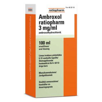 AMBROXOL RATIOPHARM 3 MG/ML SUUN KAUTTA OTETTAVA LIUOS 100 ml