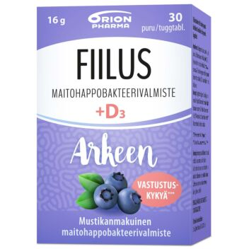 FIILUS ARKEEN MUSTIKKA + D3 PURUTABL 30 KPL