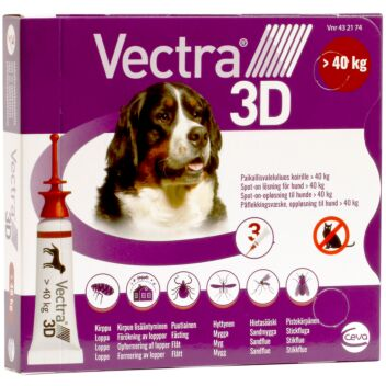 VECTRA 3D (KOIRA YLI 40 KG) 436/38,7/3175MG PAIKALLISVALELULIUOS 3x8 ml