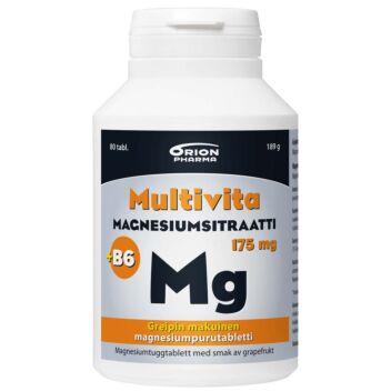 MULTIVITA MAGNESIUMSITRAATTI + B6 GREIPPI 175 MG PURUTABL 80 KPL