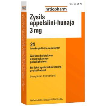 ZYSILS APPELSIINI-HUNAJA 3 MG IMESKELYTABLETTI 24 fol