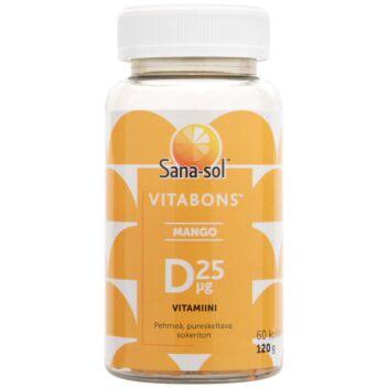 SANA-SOL VITABONS D-VITAMIINI 25 MIKROG MANGO 60 KPL